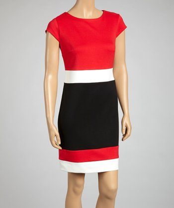 Red, Black & Ivory Color Block Dress