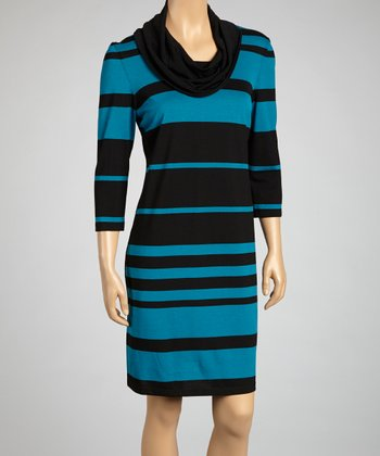 Black & Teal Stripe Sweater Dress