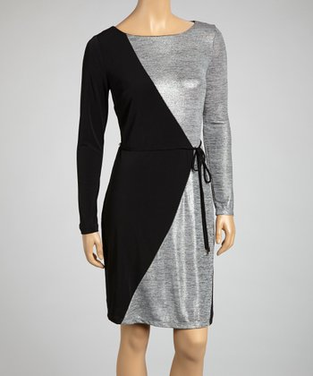 Black & Silver Color Block Tie-Waist Dress
