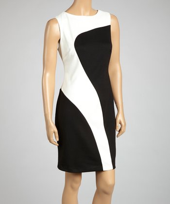 Ivory & Black Color Block Sleeveless Dress