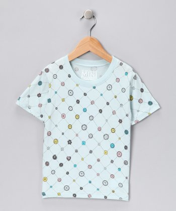 Light Blue Buttons Tee - Toddler & Girls