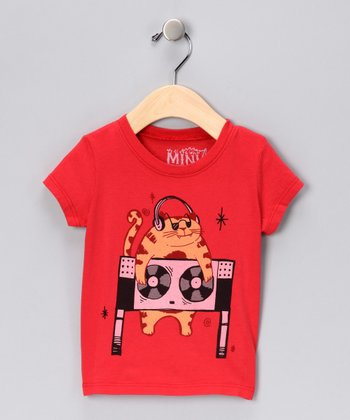 Red DJ Cat Organic Tee - Infant