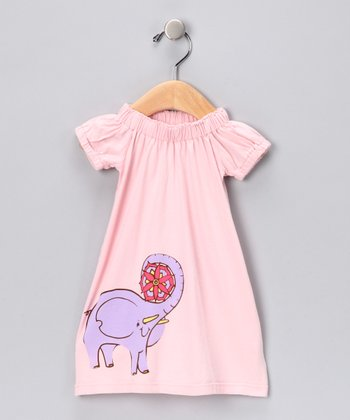 Pink Elephant Flower Organic Dress - Infant
