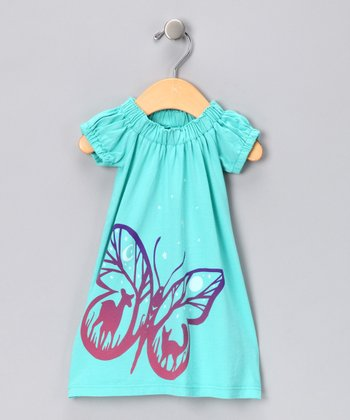 Tiffany Blue Butterfly Organic Dress - Infant, Toddler & Girls