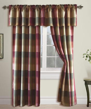Burgundy Plaid Curtain