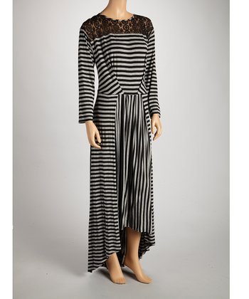 Black & Gray Stripe Lace-Shoulder Maxi Dress - Women