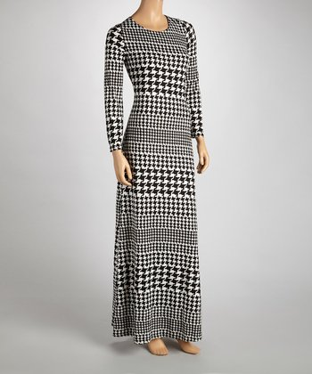 Black & White Houndstooth Maxi Dress - Women