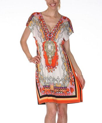 Ivory & Orange Abstract V-Neck Dress