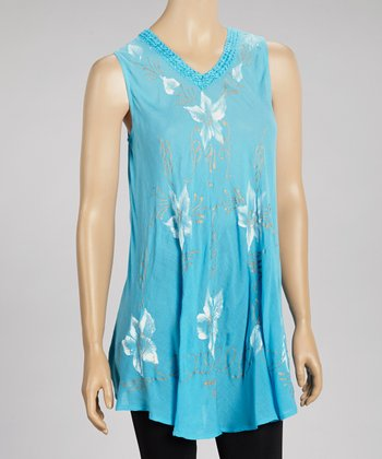 Turquoise Floral Sleeveless Dress