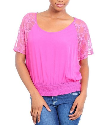 Fuchsia Lace Shirred Top