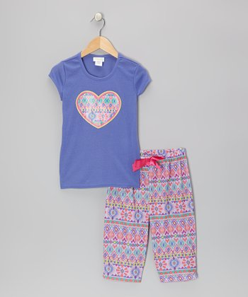 Purple & Lavender Exotic Ikat Pajama Set - Toddler
