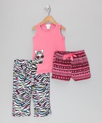 Pink & Black Sassy Zebra Pajama Set - Toddler & Girls