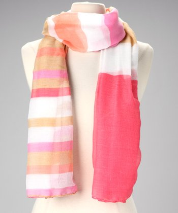 Pink & Tan Stripe Scarf