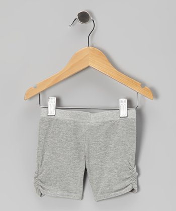 Heather Gray Ruched Shorts - Girls