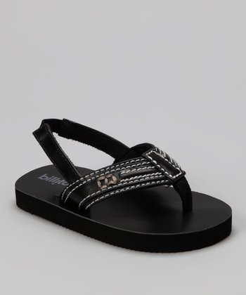 Black Combo Topstitched Backstrap Flip-Flop - Kids
