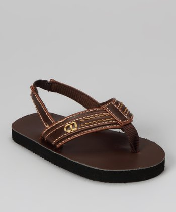 Brown Combo Topstitched Backstrap Flip-Flop - Kids