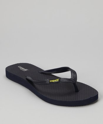Navy Combo Textured Flip-Flop - Women