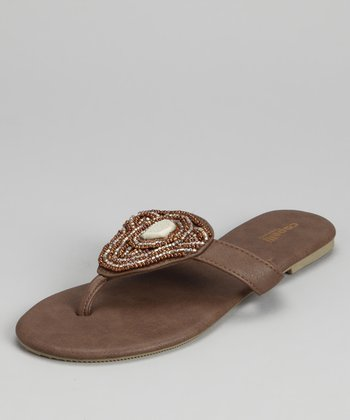 Brown Combo Beaded Sandal - Women