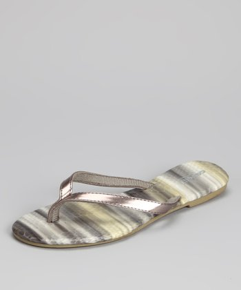 Gray Metallic Snakeskin Flip-Flop - Women