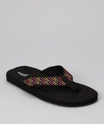Black Combo Zigzag Dot Flip-Flop - Women
