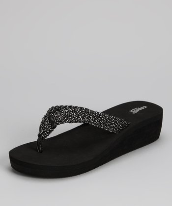 Black Combo Woven Metallic Flip-Flop - Women