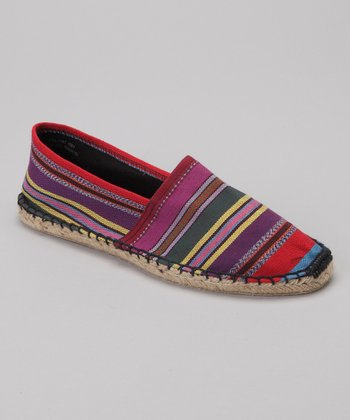 Purple & Yellow Stripe Espadrille Flat - Women