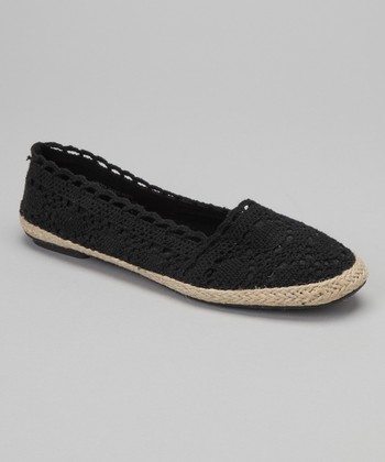Black Crocheted Espadrille Flat - Women