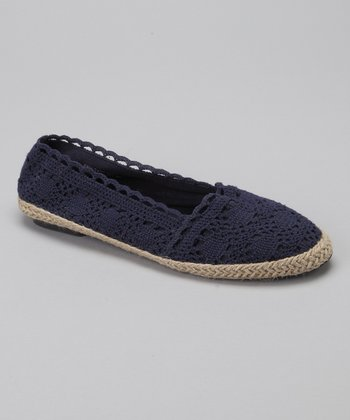Navy Crocheted Espadrille Flat - Women