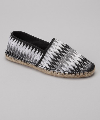Black & White Sequin Zigzag Espadrille - Women