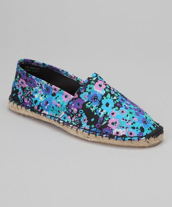 Black & Blue Floral Espadrille - Women