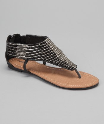 Black & Silver Bead Sandal - Women