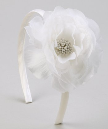 White Flower Satin Headband