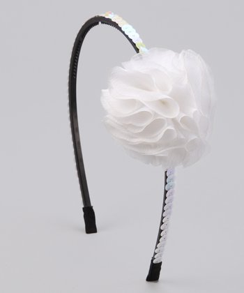 White Flower Sequin Headband