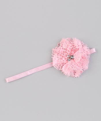 Light Pink Mesh Flower Headband