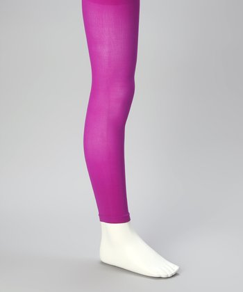 Neon Purple Footless Tights - Girls