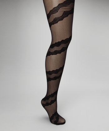 Jet Black Wrapping Lace Tights - Women
