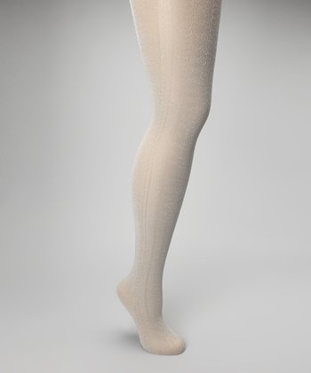 Ivory Metallic Mixed Stripe Tights