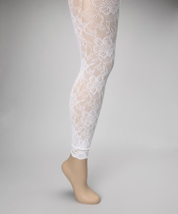 Bright White Floral Lace Footless Tights