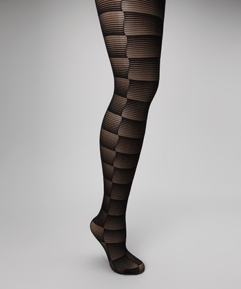 Black Gradient Stripe Sheer Tights
