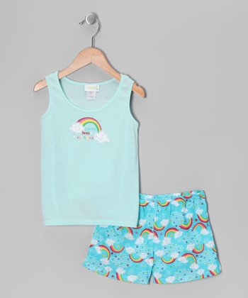 Turquoise 'Peace Love & Rainbows' Pajama Set - Toddler & Girls