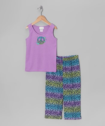 Cool Peace Sign Leopard Pajama Set - Toddler & Girls