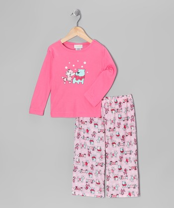 Pink Fancy Pooch Pajama Set - Girls
