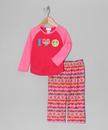 Pink Rainbow Peace Sign Pajama Set - Girls