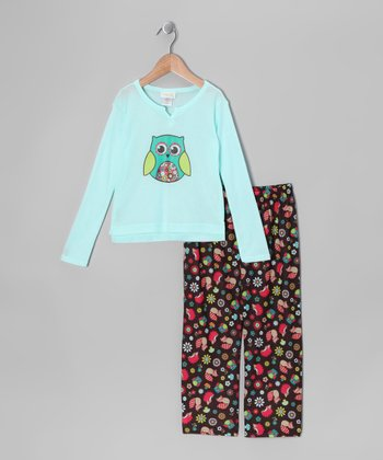 Brown & Aqua Owl Pajama Set - Toddler & Girls