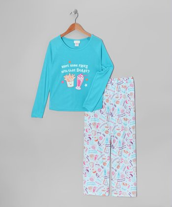 Turquoise Junk Food Attitude Pajama Set - Girls