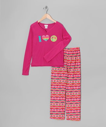 Pink & Purple Rainbow Peace Sign Pajama Set - Girls