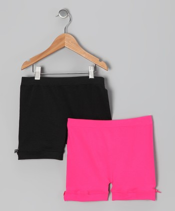 Black & Pink Bow Shorts Set - Toddler & Girls