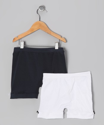 Navy & White Bow Shorts Set - Toddler & Girls