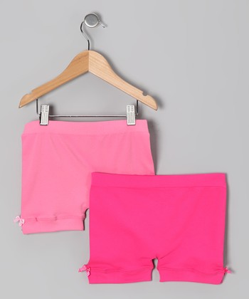 Pink & Fuchsia Bow Shorts Set - Girls