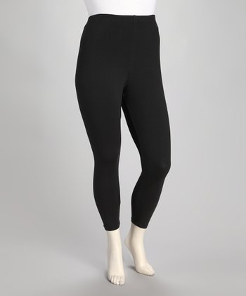 Black Jersey Plus-Size Capri Leggings